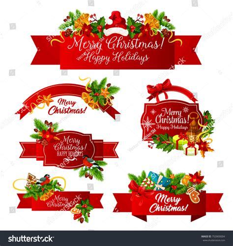 happy holiday tree ribbon merry greeting happy wishes stock vector 753900004