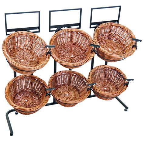 basket display rack 31 quot h 2 tier 6 round willow basket and floor stand display rack
