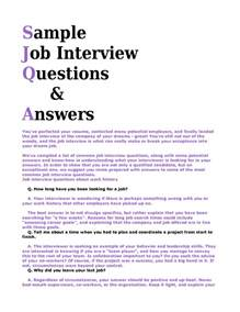 examples of answers to interview questions sample resume
