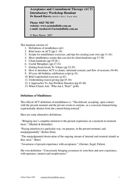 act worksheets acceptance and commitment therapy act introductory workshop handout