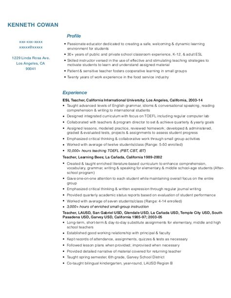 Esl Resume by Resume