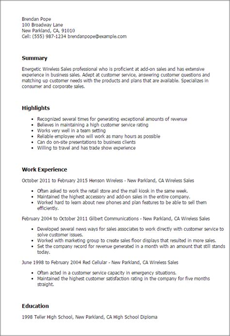 Resume Exles For Wireless Sales Professional Wireless Sales Templates To Showcase Your Talent Myperfectresume