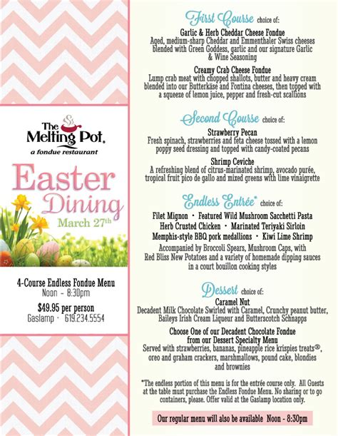 fondue dinner menu the melting pot s endless fondue easter cohn