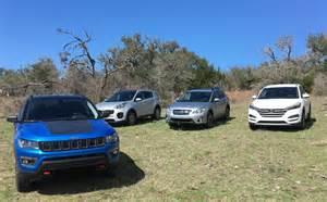 Subaru Or Jeep 2017 Jeep Compass Vs Hyundai Tucson Vs Subaru Crosstrek Vs