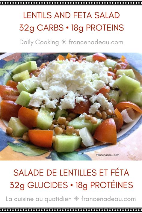 carbohydrates lentils lentils and feta salad 32g carbs 18g proteins