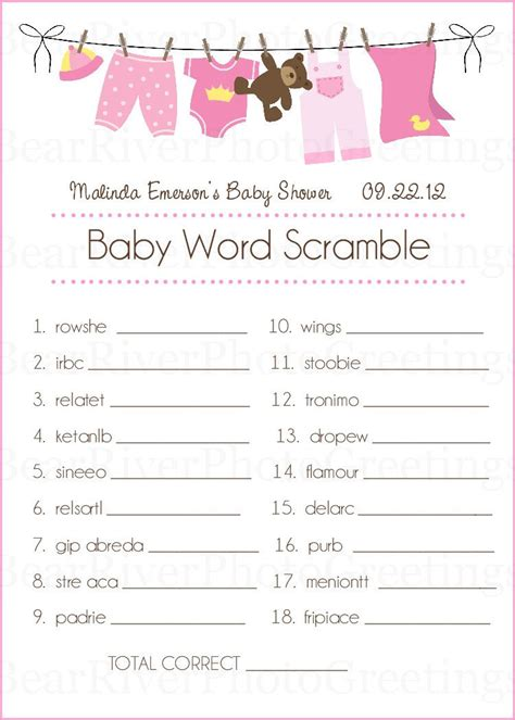 free printable word games for baby showers baby shower game cards baby word scramble set of 20