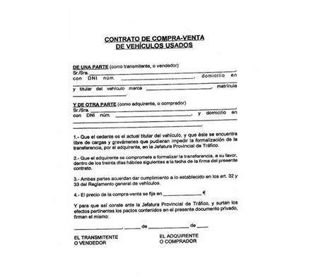 ejemplo contrato compra venta coche segunda mano 191 c 243 mo se cambia el titular de un veh 237 culo circula seguro