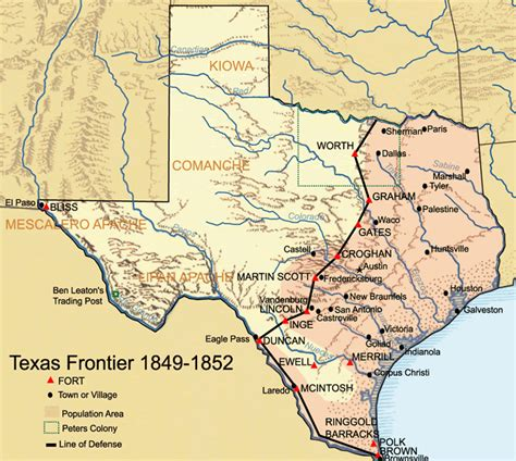 texas land grants map 1849 texan frontier forts historical map texas mappery
