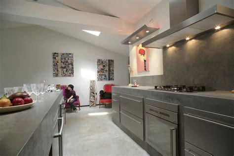 béton ciré plan de travail cuisine cuisine gris perle
