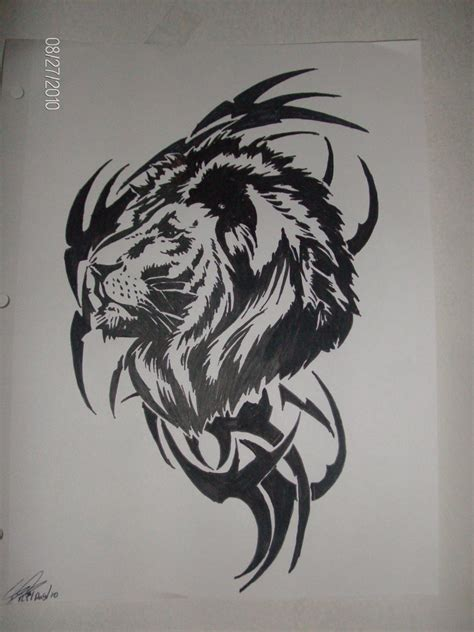 tribal lion head tattoo images designs