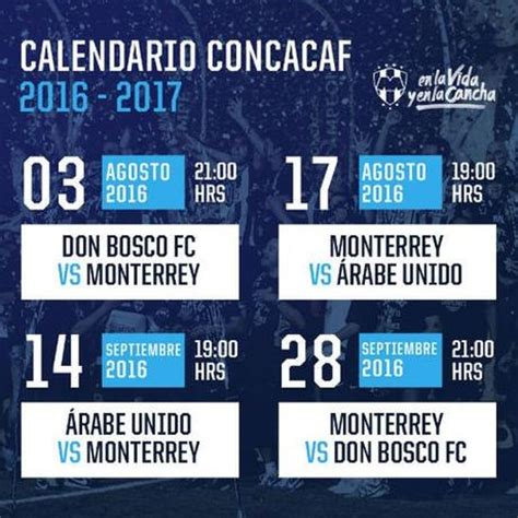 Calendario Liga Mx 2016 Rayados Partidos De Los Rayados De Monterrey En La Concachions