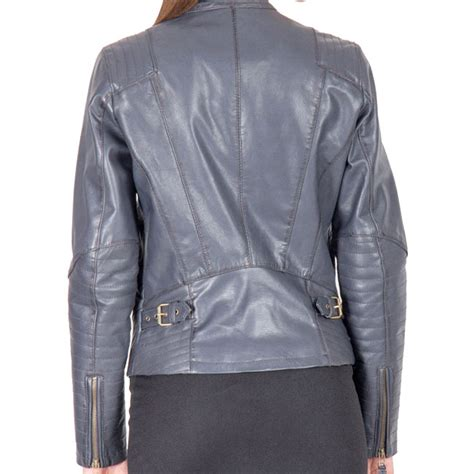 light leather jacket womens a light blue color fashion leather jacket for women
