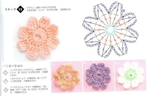 diagram crochet flower crochet flowers diagram 7