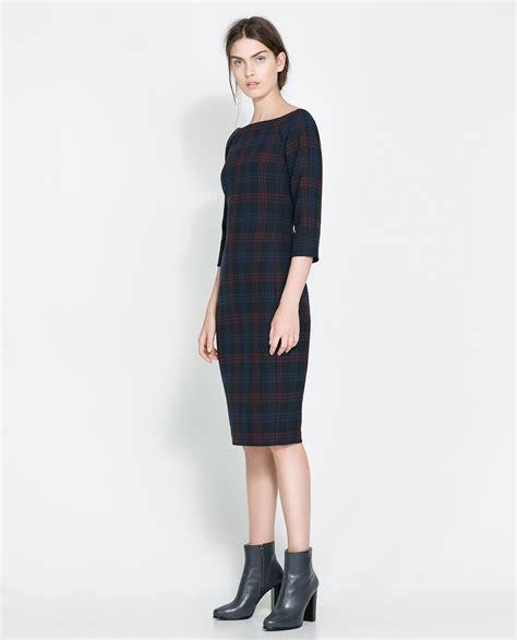 Dress Zara zara fitted checked dress in blue lyst