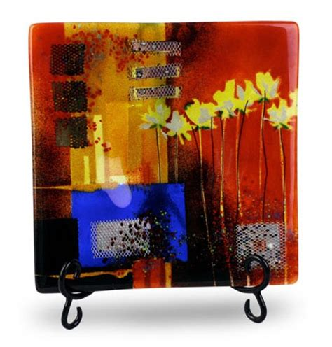 fused art glass vases abstract art