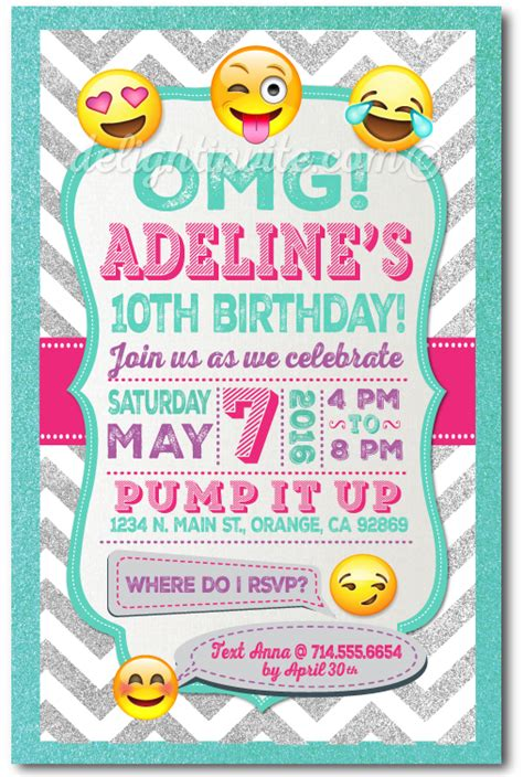 Printable Digital Emoji Birthday Party Invitations For Girls Di 625dp Harrison Greetings Emoji Birthday Invitation Template