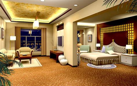 Living Room And Bedroom Design Yellow Bedroom And Living Room Design Rendering 3d