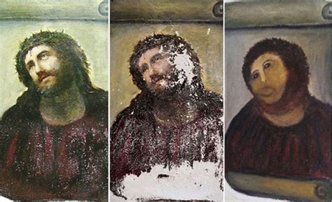 Painting Restoration by Botched Jesus Painting Restoration Is Really A Bob Ross