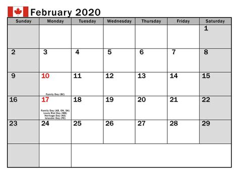 february  calendar canada bank holidays  calendars  students education february