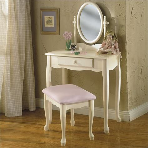 powell furniture white wood makeup vanity table