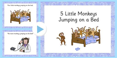 5 little monkeys jumping on the bed song 5 little monkeys jumping on the bed rhyme powerpoint