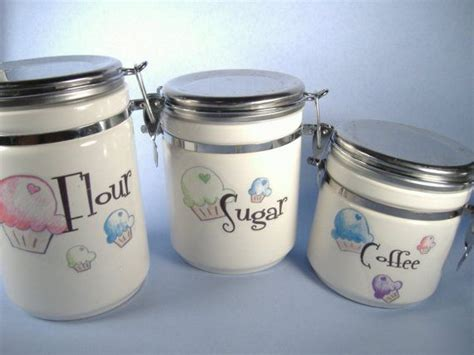 cute kitchen canister sets super mega cupcake kitchen canisters by inhope on etsy