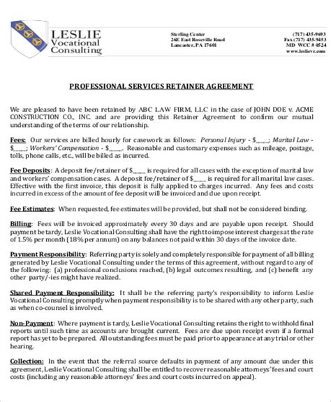 consulting retainer agreement templates sle consulting retainer agreements 9 exles in