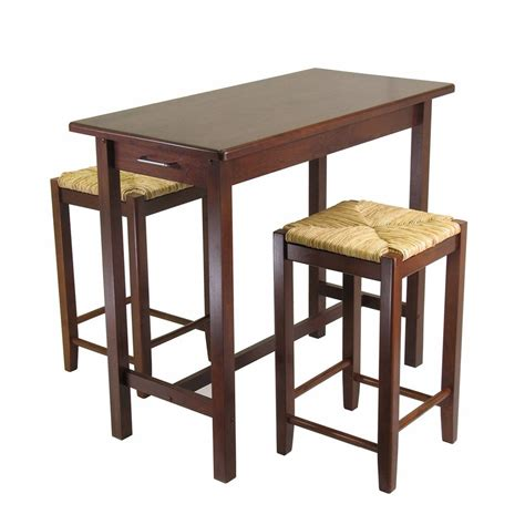 Stools For Kitchen Island Shop Winsome Wood Brown Coastal Kitchen Island With 2 Stools At Lowes