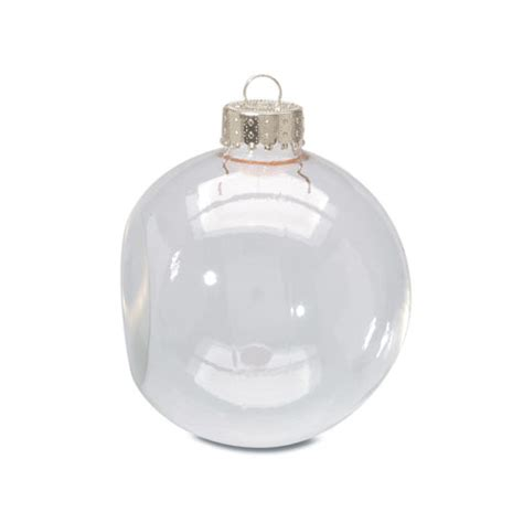 clear glass ornaments 2 625 inch flat sided balls 6 pack