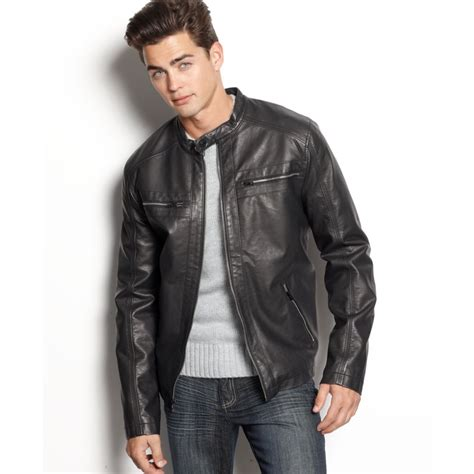 Jacket Calvin calvin klein faux leather moto jacket in black for lyst
