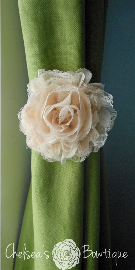 flower curtain tie back shabby chic tan fabric flower