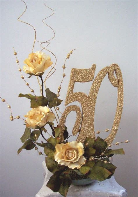 50th wedding anniversary centerpieces flower brances