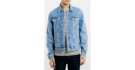 Mens Light Wash Denim Jacket by Topman Light Wash Denim Jacket In Blue For Mid Blue