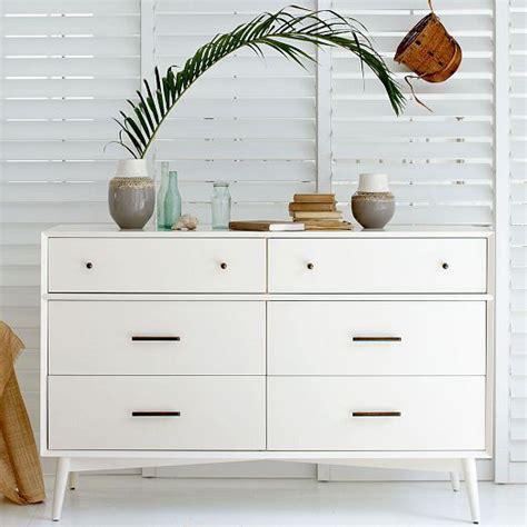 White Mid Century Dresser by Mid Century 6 Drawer Dresser White