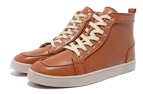 christian louboutin louis mens high top leather sneakers brown