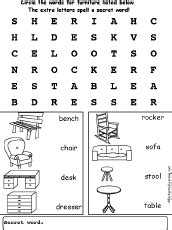 couch words furniture wordsearch
