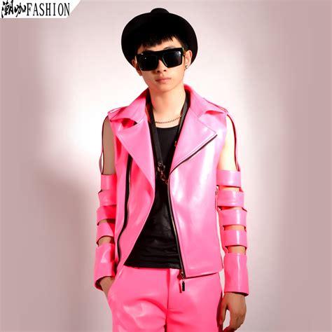 Parka Pink Mc T1310 pink sleeve cutout motorcycle leather jacket