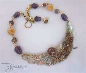 unique jewelry mixed media handmade collar necklace citrine and amethyst gemstones unique jewelry