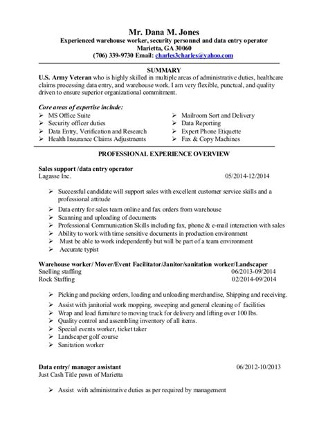 data warehouse sle resume new resume 2014 data entry