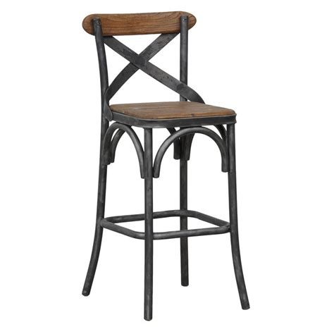 black iron bar stools kosas home dixon rustic brown and black reclaimed pine and