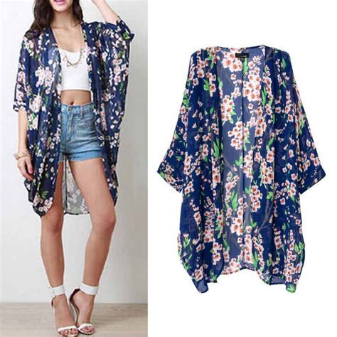 Coat Kimono Cardigan s floral chiffon half sleeve kimono cardigan coat