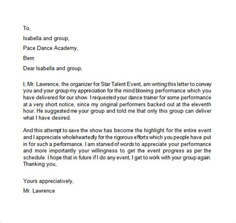 appreciation letter for team performance appreciation letter 9 free sles exles format