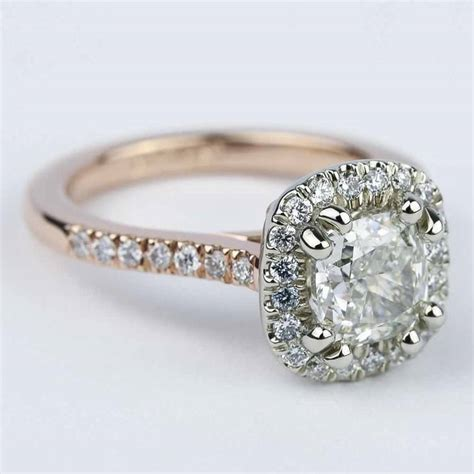 Two Tone Halo Engagement Ring - custom two tone cushion halo engagement ring