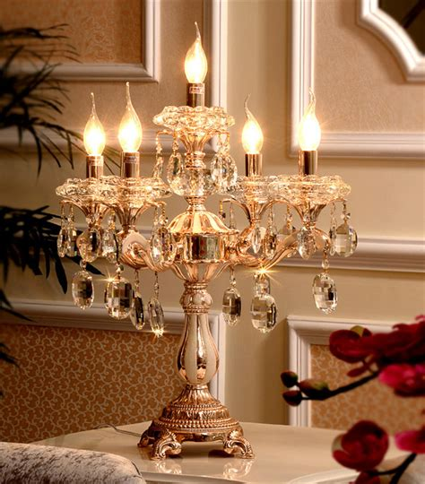 Clear Glass Chandelier Shades 5 Lights Large Wedding Gold Candle Holders Led Table Lamp