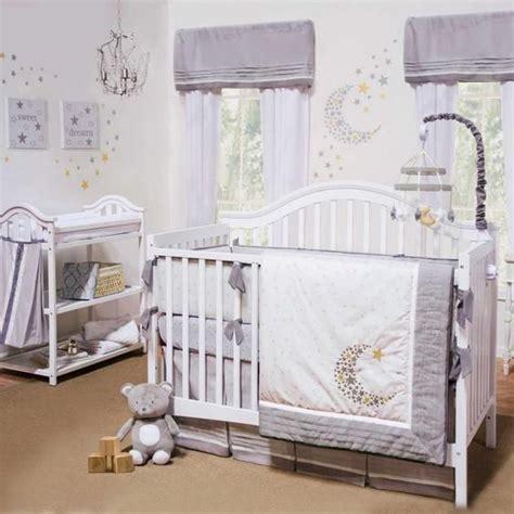 Gray White Celestial Moon W Stars Baby Unisex Nursery 4 Celestial Crib Bedding