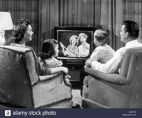 Sitting Easy Chairs 1950s Family Sitting In Easy Chairs Television