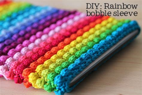 how to knit a laptop sleeve free crochet pattern for rainbow bobble tablet sleeve