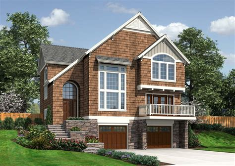 front sloping lot house plans sloping lot country cottage 6884am architectural designs house plans