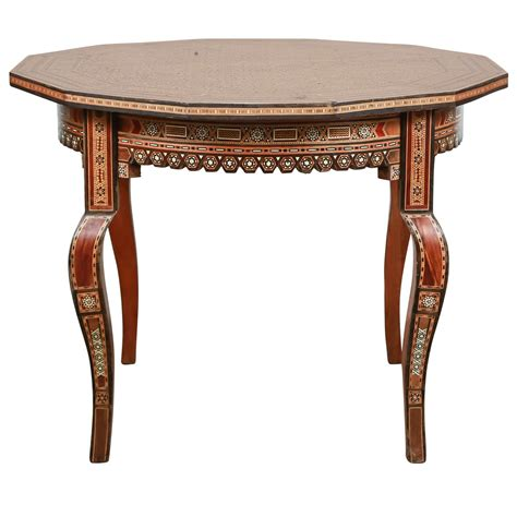 Inlaid Syrian Octagonal Side Coffee Table Inlaid Coffee Table