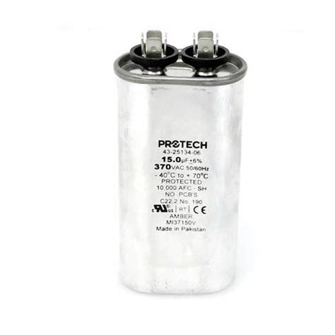capacitor 15 mfd 370 vac 43 25134 06 cosaire oem oval replacement run capacitor 15 uf mfd 370 volt